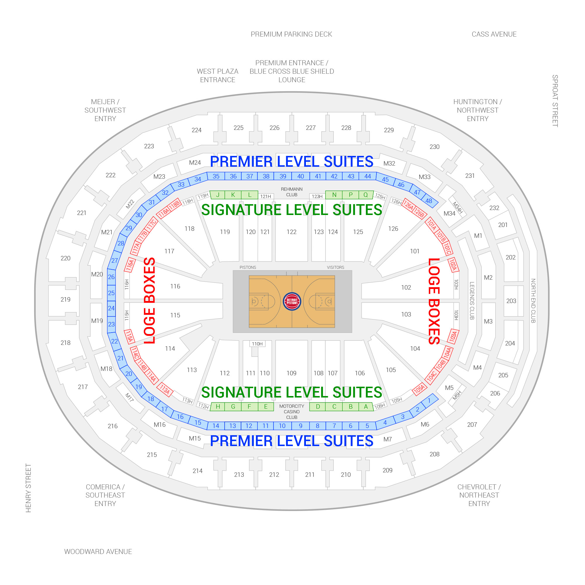 Little Caesars Arena / Detroit Pistons Suite Map and Seating Chart